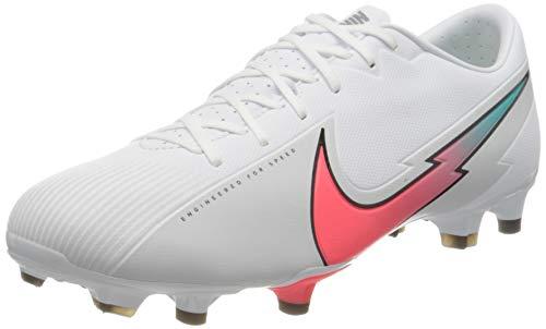 Nike Unisex Vapor 13 Academy FG/MG Fussballschuh, White Flash Crimson Photon Dust Hyper Jade Black, 40 EU