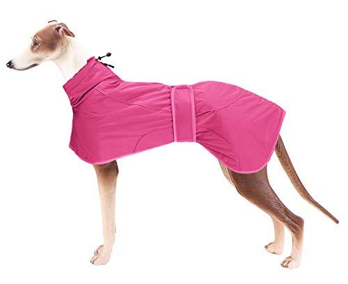 Geyecete Abrigo de invierno para perro con forro polar cálido, ropa de perro al aire libre con bandas ajustables, ropa para perro mediano y grande, galgo, rosa