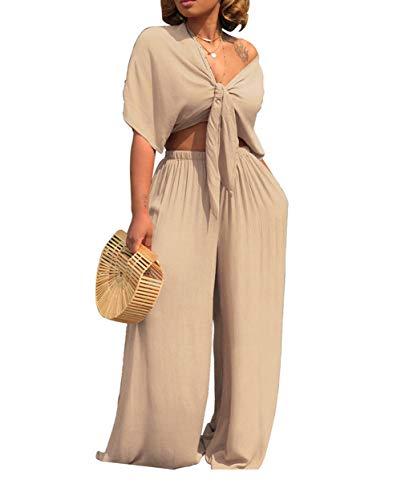 Aro Lora Women's 2 Piece Outfit Jumpsuit Short Sleeve V Neck Tie up Crop Top Wide Leg Pant Set Romper XX-Large Apricot