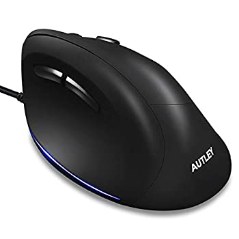 AUTLEY Wired Ergonomic Mouse USB Wired Vertical Mouse with 1000/1600/2400/3200 DPI 5.9ft Cord Better for Large Hand  M19W