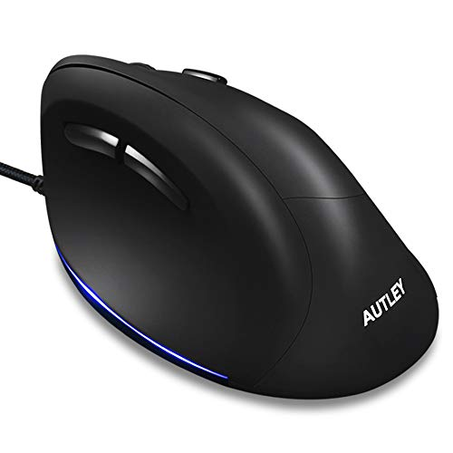 AUTLEY Wired Ergonomic Mouse, USB Wired Vertical Mouse with 1000/1600/2400/3200 DPI, 5.9ft Cord, Better for Large Hand (M19W)