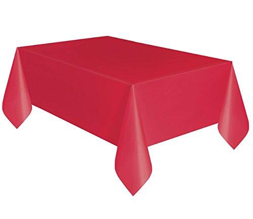 Islander Fashions UmbrellaPhants & Plain Housse de Table en Plastique Fancy Table Cloth Accessoire de f�Te Basic Red One Size