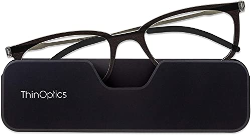 ThinOptics Gafas de lectura ultrafinas +3.0 - Funda magnética para teléfono – marcos negros, gafas de lectura unisex para hombres y mujeres