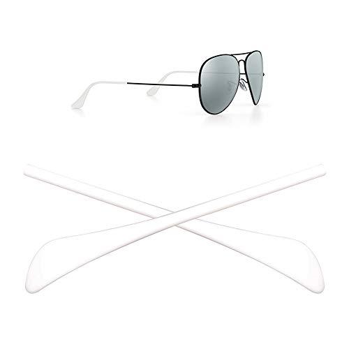HEYDEYFO RAY BAN 1ペア 眼鏡テンプル 先端ヒント 耳ソックスチューブ 交換用 補修チューブ サングラス 耳サックチューブ サングラス Ray-Ban (レイバン) Aviator RB3025 (ホワイト) サングラスバッグ付き