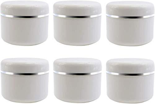 Cerobit - Tarros de plástico para cosméticos, 250 ml, color blanco, plateado, vacíos, rellenables, con revestimiento interior y tapas de cúpula, paquete de 6 unidades (250 ml/8 oz)