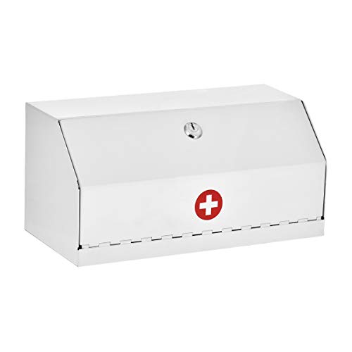AdirMed Locking Drug Cabinet – Wall Mount Heavy Duty White Steel Prescription Medicine Safe Medical Supply Storage wLock for Home School Office