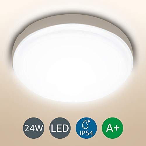 LE 24W LED Deckenleuchte Bad, 2200lm 4000K Ø26.5cm Badlampe, IP54 Wasserfest Deckenlampe, Neutralweiß, Lampen Ideal für Badezimmer, Küche, Wohnzimmer, Schlafzimmer, Balkon, Flur, Badezimmerlampe