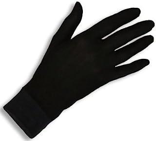 Jasmine Silk guantes de seda puras térmicas Guantes del ciclo Liner Guante Interior Ski Bike Negro (Size: Medium 8.5 - 9.5 (From the longest finger tips to the wrist))