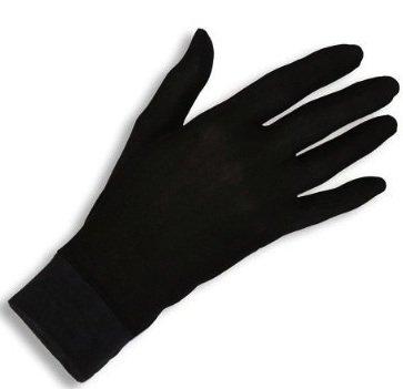 Jasmine Silk guantes de seda puras térmicas Guantes del ciclo Liner Guante Interior Ski Bike Negro (Size: Small 7 - 8.5 (From the longest finger tips to the wrist))