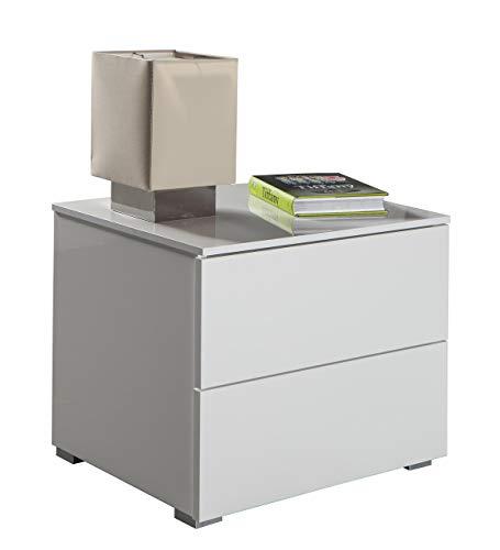 Composad Comodino due cassetti moderno laccato bianco CT7165 L55h44p44, metallo, UNICA