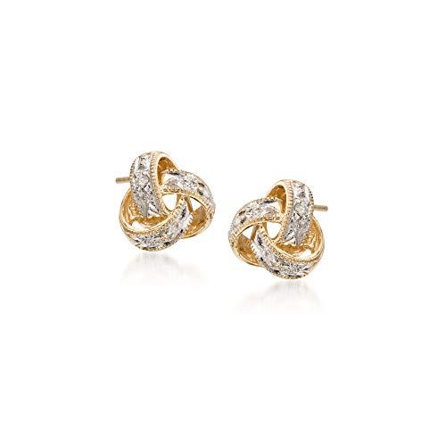 Ross-Simons Diamond-Accented Love Knot Stud Earrings in 14kt Yellow Gold For Women
