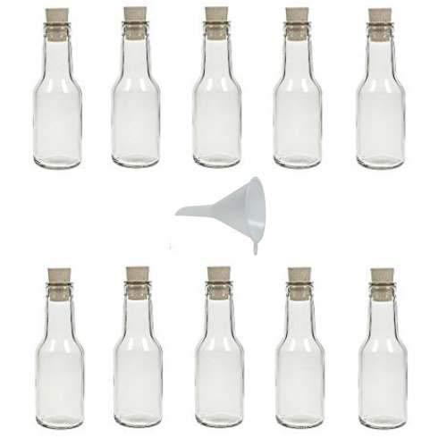 Viva Haushaltswaren - 10 x Glasflasche 150 ml mit Korkverschluss zum Befüllen, als Glasgefäße für Schnaps, Liköre etc. verwendbar (inkl. Trichter Ø 7 cm)