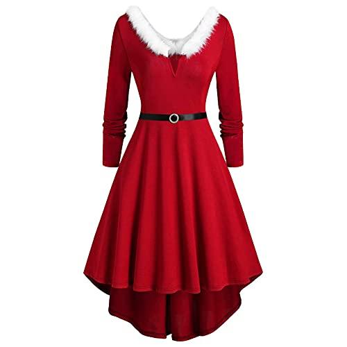 TTWOMEN Robe Femme Noël Faux-Peluche Panneau À Manches Longues Col en V Robe De Soirée Asymétrique (Red, XXXL)