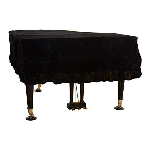 Home Macramé - Funda para piano con borde de terciopelo dorado resistente a la suciedad, diseño de triángulo suave, a prueba de polvo, lavable, antiarañazos, protección (color: negro, tamaño: 1 m)