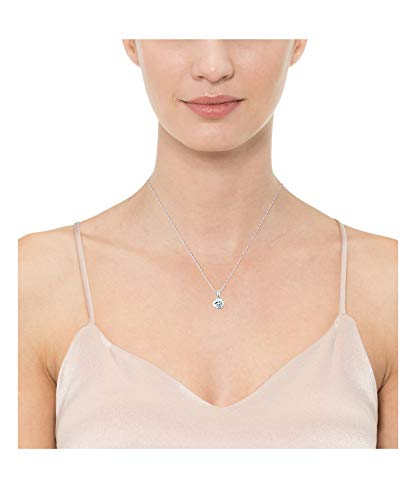 Amazon Essentials Sterling Silver Genuine or Created Round Cut Birthstone Pendant Necklace, 18