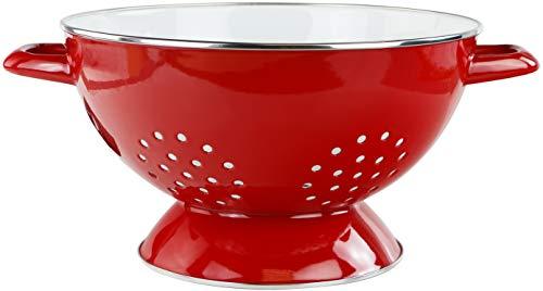 Calypso Basics 88660 by Reston Lloyd 5 Quart Enamel-on-Steel Colander, Large, Red