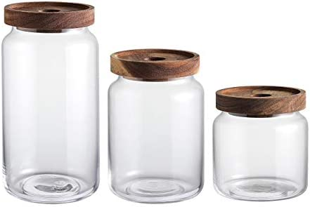 KMwares 3pcs Clear Glass Food Storage Jar Cotton Container With Airtight Seal Acacia Wood Lids product image