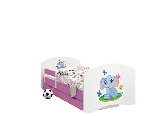 Happy Babies -LIT D'ENFANT ROSE DOUBLE FACE AVEC TIROIR Design Moderne Avec Bords Sécurisés et Matelas en Mousse Antichute 7 cm (03. Éléphant, 190x90)
