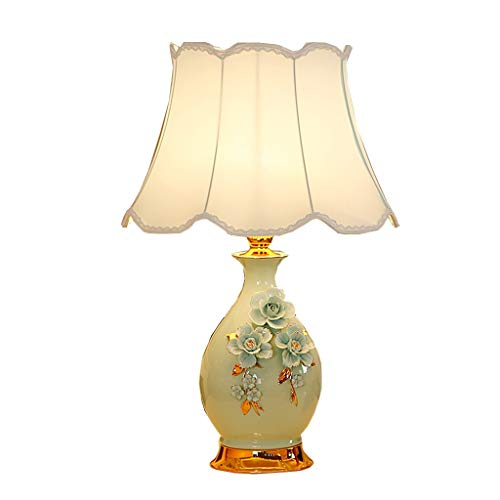 Lfixhssf tafellamp Pastorale Villa Blue keramiek gesneden vaas verduisteringsverlichting E27 LED licht Lfixhssf (kleur: blauw)
