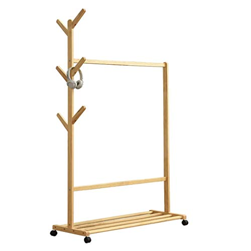 Coat Rack Wooden Coat Rack Simple Clothes Standard Bar Multifunctional 3 In 1 with Wheels and Bottom Shelf for Balcony And Bedroom Clothing Rack (Color : Primary color, Size : 70cm)