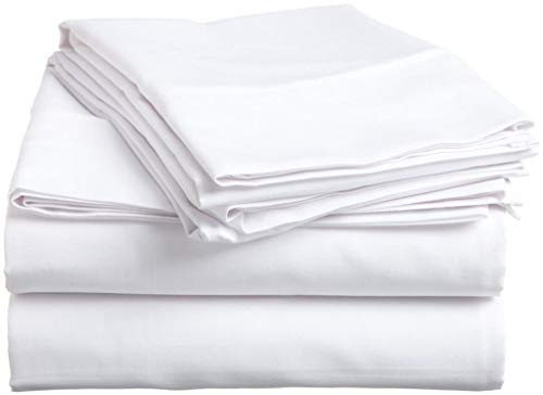 Queen Size 3 PCs Flat Sheets (1 Flat Sheets & 2 Pillow case) - Luxury Bed Sheets Best Premium Quality Sheet on Amazon Easy Fit Breathable & Cooling Comfy Top Sheet White Solid 600 Thread Count,