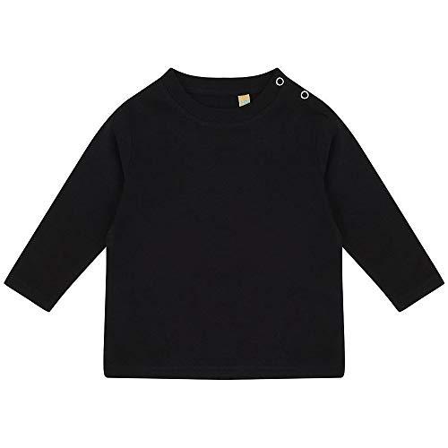 Larkwood- Camiseta de manga larga lisa para bebé unisex (0-6 Meses) (Negro)