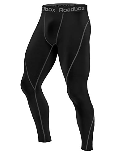 Roadbox Men's Compression Pants - Tights Base Layer Cool Dry Leggings for Sports, Workout, Gym, Fitness, Running, Cycling, Yoga, Hiking, Basketball (Black, M)