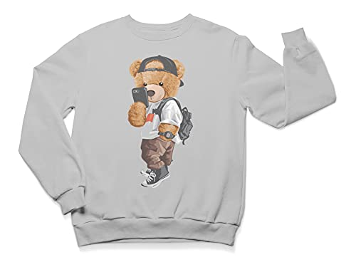 Selfie Teddy - Sudadera unisex con cuello redondo para adultos   clásico suéter de manga larga   ropa casual para interiores y exteriores, gris, L