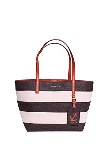 Made of Canvas, Open top with Magnetic snap button closure; Come with small pouch of 8 x 5 Inches with zip top and 3 credit card slots 1 Open pocket; MK gold logo charm; Double flat leather handles of 9 Inches drop Gold hardware Measurements: Length:...