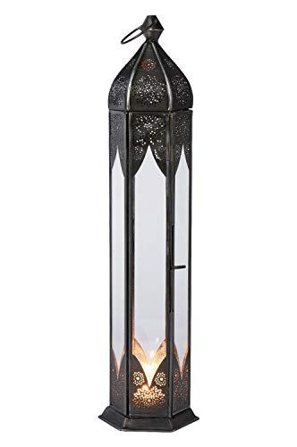 Orientalische Laterne aus Metall & Glas Bariya klar 42cm | orientalisches Windlicht | Marokkanische Glaslaterne für innen | Marokkanisches Gartenwindlicht für draußen als Gartenlaterne