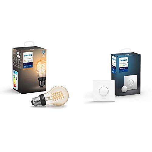 Philips Hue Bombilla Inteligente LED E27, con Bluetooth, Filamento A60, Luz Blanca Cálida + Interruptor Smart Button, Compatible con Alexa y Google Home