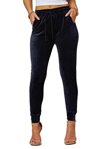 Conceited Velour Velvet Jogger Leggings for Women...