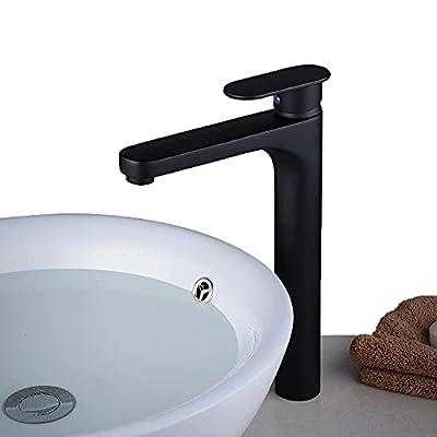 Beelee Vessel Sink Faucet Single Handle Modern Bathroom Faucet, Matte Black Vanity Faucet Tall Body, BL1842BP