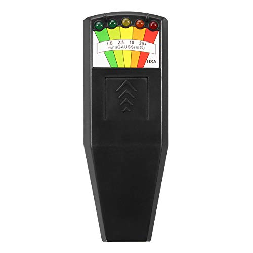 LED EMF Meter Magnetic Field Detector Ghost Hunting Paranormal Equipment Tester Portable Counter (Black, 1 PC)