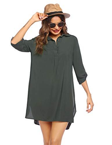 Sheshow Women's Swimsuit Beach Cover Up Summer Bathing Suit Coverups with Asymmetrical Hem Green L