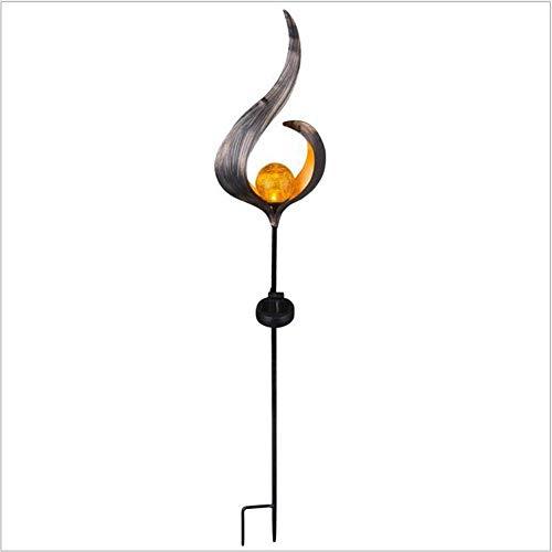 erddcbb Escultura de Hierro Lámpara de Llama Solar Decoración, Jardín al Aire Libre Césped Lámpara enchufable Hogar Decoración de Patio pequeño Accesorios de Vestir de Vacaciones, A