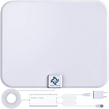 U MUST HAVE Amplified HD Digital TV Antenna Long 250+ Miles Range - Support 4K 1080p Fire tv Stick and All TV s - Indoor Smart Switch Amplifier Signal Booster - 18ft Coax HDTV Cable/AC Adapter  white