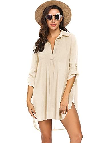 Ekouaer Boyfriend Beach Shirt Fashion V-Neck Cotton Beach Top/Swimsuit Cover up Beige