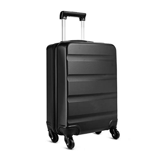 Kono Carry on Luggage Hard Shell ABS Cabin Suitcase 4 Wheeled Spinner 55cm 33L (Black)