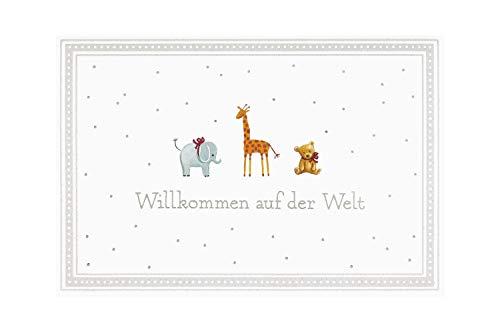 """BSB Grußkarte Glückwunschkarte zur Geburt\""""\""""Willkommen auf der Welt\""""\"""" kleine Tiere\"""", 311836-2"""