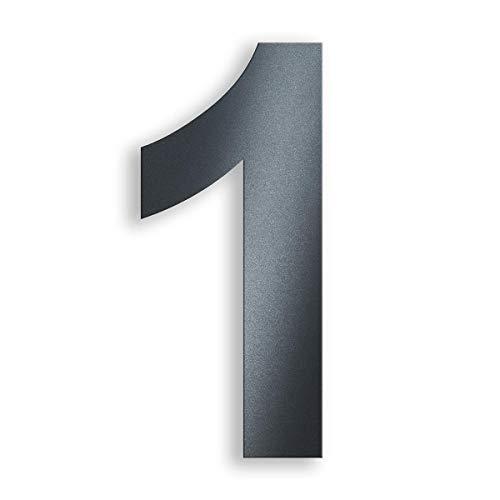 Metzler Hausnummer aus massivem Stahl in Anthrazit - RAL 7016 Anthrazitgrau Feinstruktur Pulverbeschichtet - Schrift Arial - Höhe 20 cm - Ziffer 1