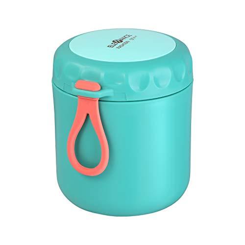 Cabilock Lancheira de aço inoxidável com isolamento térmico para mingau de sopa, recipiente portátil para piquenique, escola, escritório (430 ml, verde)