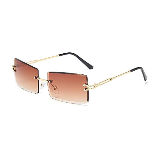 Gafas de sol rectangulares vintage para mujeres y hombres a la moda retro cuadradas gafas sin montura lentes lentes gafas ultraligeras protección UV400 (marrón oscuro)