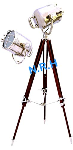Lámpara de pie náutica de diseño con trípode de madera