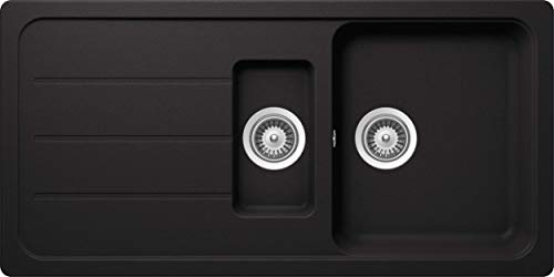SCHOCK Küchenspüle 100 x 50 cm Formhaus D-150L Nero - CRISTALITE Granitspüle mit 1 ½ Becken ab 60 cm Unterschrank-Breite