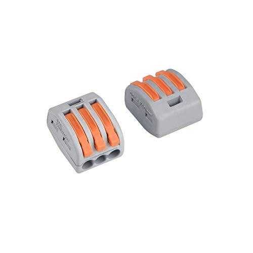 50 Stück 222 Verbindungsklemmen 3 Leiter klemmen klemmenblock Steckverbinder mit Betätigungshebeln (222-413)