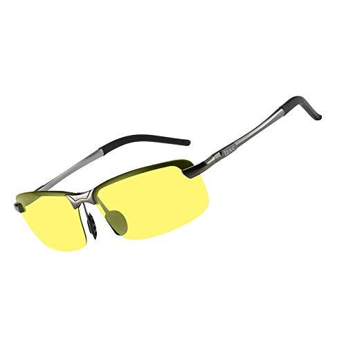 LZXC Herren Nachtsichtbrille, Polarisierte Nachtfahrbrille Autofahren Brille, Metallischer Grauer Rahmen mit Nachtsichtlinse
