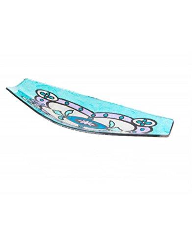 Home Line Bandeja Canoa de Cristal - Modelo azulejo Floral