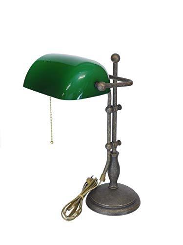 Antike Fundgrube Bankerlampe Messing brüniert mit grünem Glasschirm | Bankers Lamp Schreibtischlampe | höhenverstellbar Zugschalter (1889)