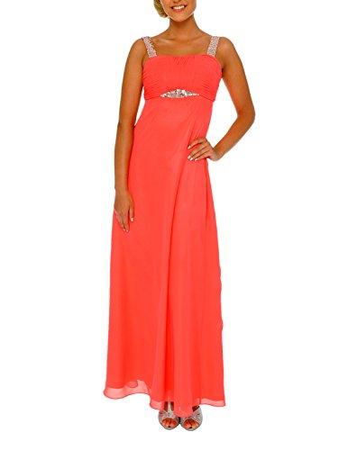 Astrapahl Damen Cocktail Kleid mit Pailletten, Maxi, Einfarbig, Gr. 32, Rosa (Koralle)